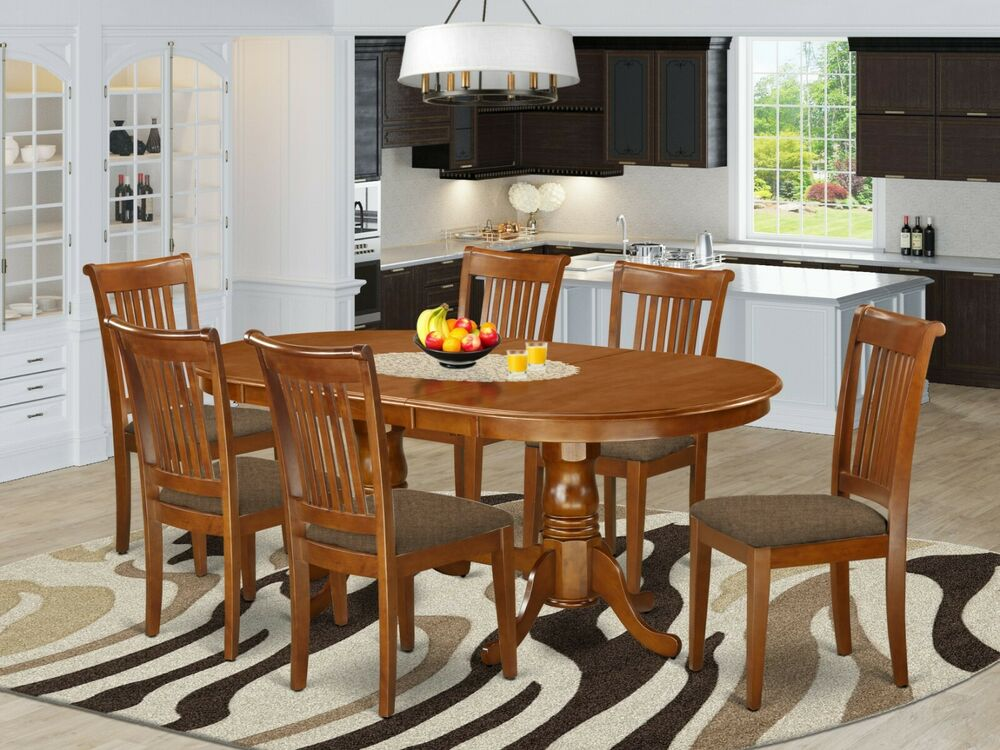 9 pc oval dinette kitchen dining table w 8 upholstered chairs in saddle brown ebay - Oval kitchen table sets ...
