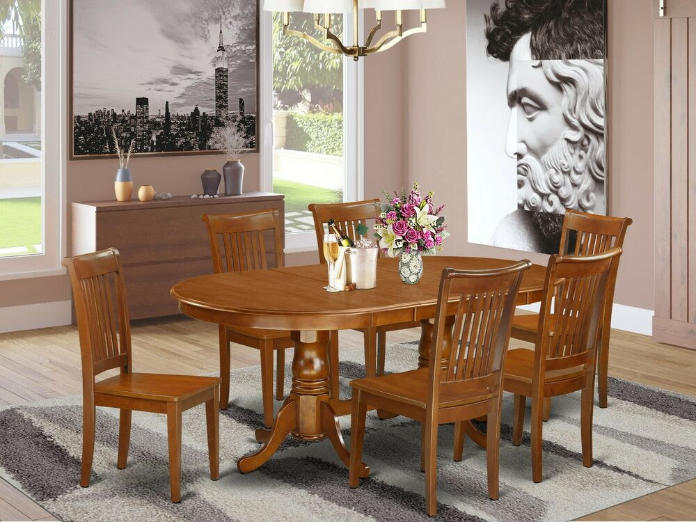 7 pc oval dinette kitchen dining table w 6 wood seat for Kitchen dining table chairs