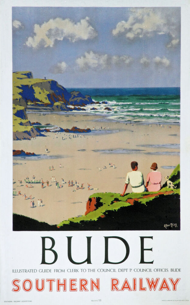 Bude Seaside View Vintage Deco Railway Travel Poster A1