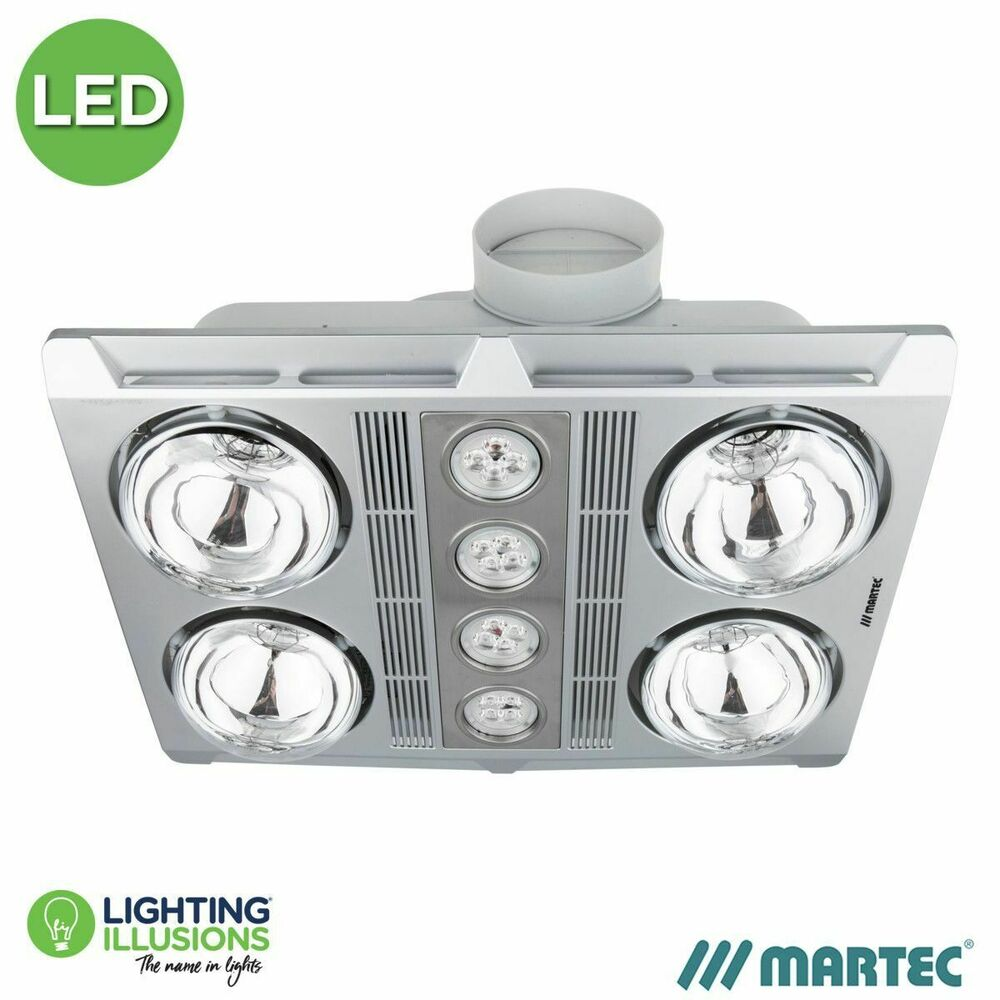 Martec profile plus 4 led bathroom heater exhaust fan for Bathroom exhaust fan with led light