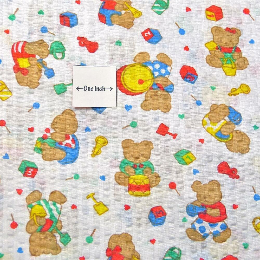 Vintage seersucker cotton fabric children 39 s teddy bear for Childrens cotton fabric by the yard