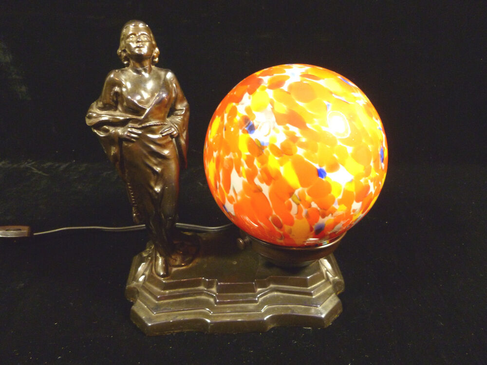 Art Deco Jean Harlow Commemorative Lamp With Polychrome