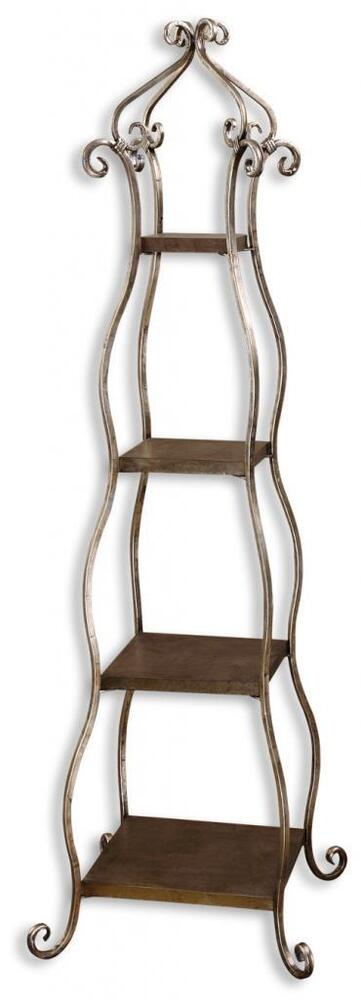 curved tiered etagere shelves open iron metal scroll antique style plant curio ebay. Black Bedroom Furniture Sets. Home Design Ideas