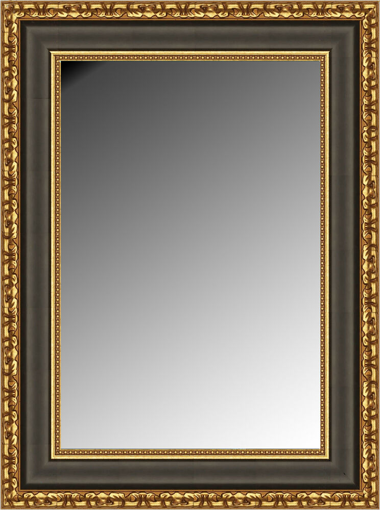 Wall Mirror Rectangle Black With Gold Finish Size 30x40