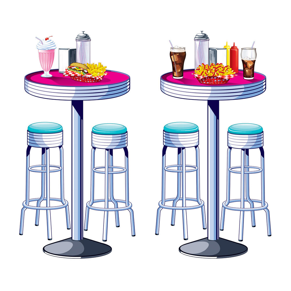 1950s sock hop grease party decoration soda shop diner tables stools props 34689521112 ebay. Black Bedroom Furniture Sets. Home Design Ideas