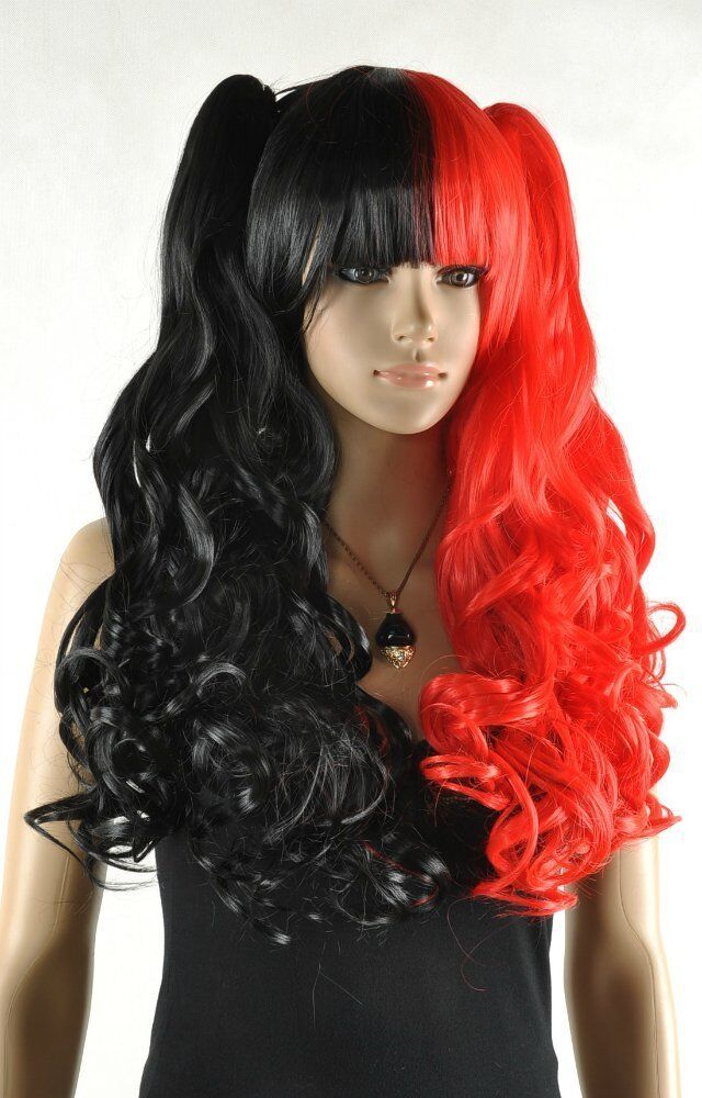Cosplay black and red mix long curly cosplay full wig ...