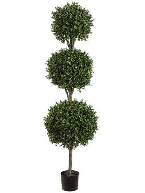 6 5 39 artificial boxwood triple ball topiary tree in pot for Garden topiary trees