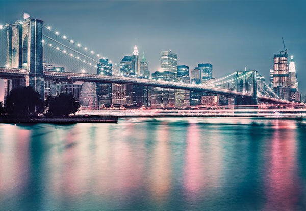 Wall mural brooklyn bridge neon photo wallpaper for Brooklyn bridge mural wallpaper