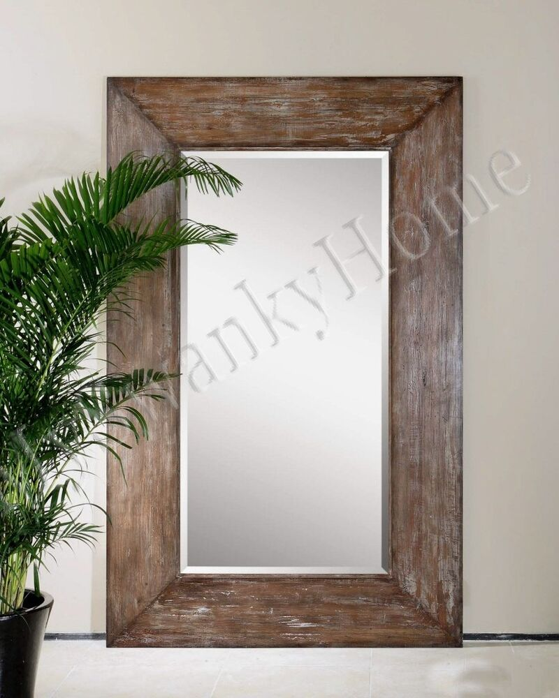 Extra large wall mirror oversize rustic wood horchow full for Leaning wall mirror