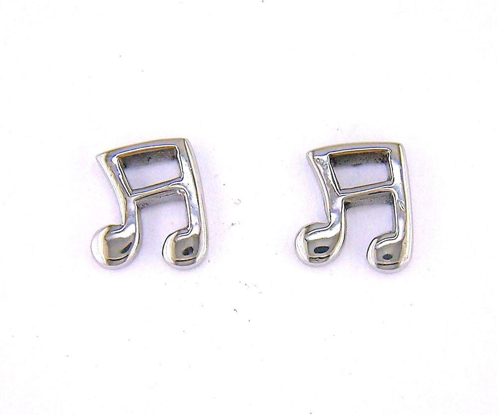Stainless Steel Music Note Stud Earrings