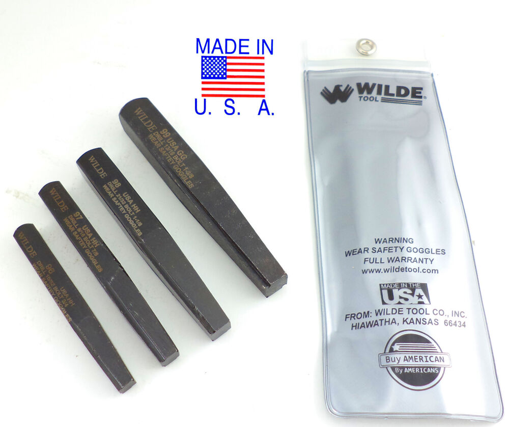 wilde tool 4pc large screw bolt extractor set easy made in usa pro qual. Black Bedroom Furniture Sets. Home Design Ideas