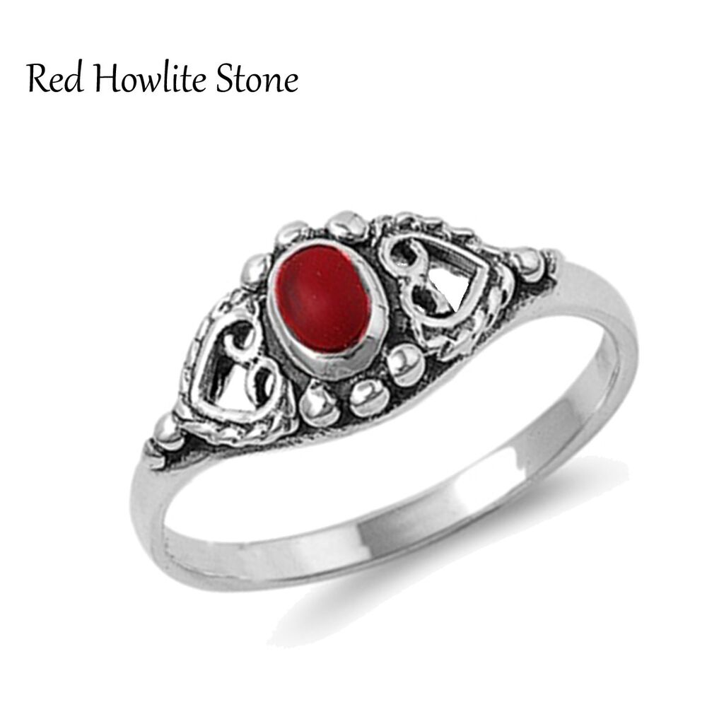 Red Heart Sterling Silver Ring