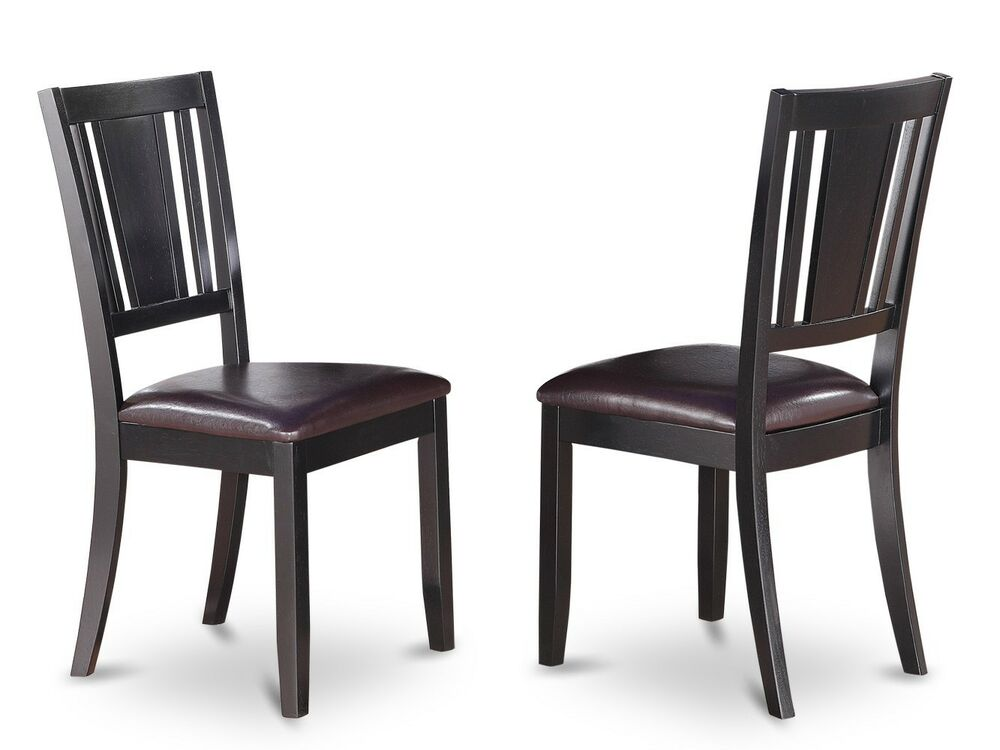 Set of 4 dudley dinette kitchen dining chairs with leather for Black leather dining chairs