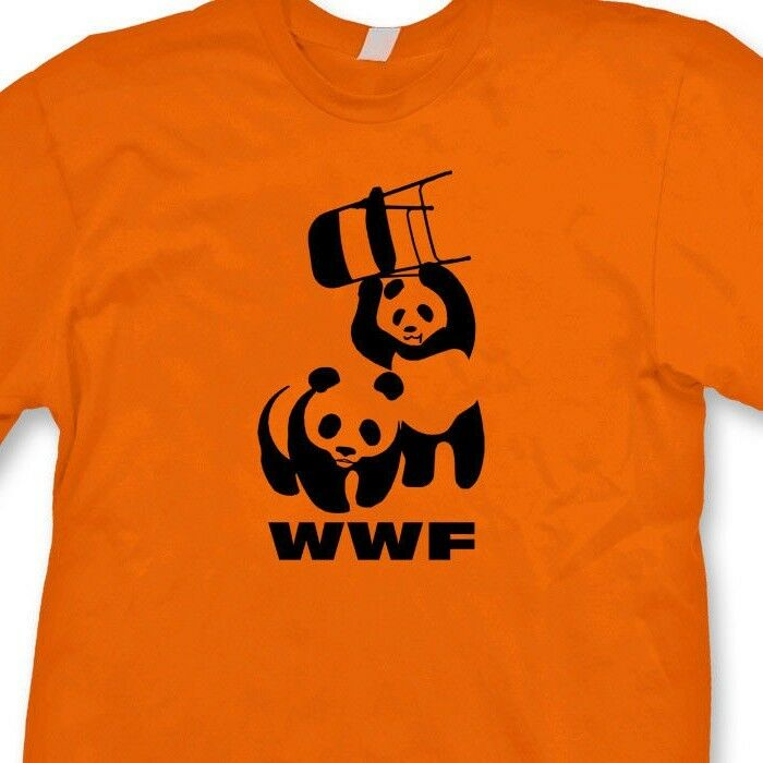 f82fe8ce6d Details about WWF Flying Chair Fighting Pandas T-shirt Funny Wrestling Tee  Shirt