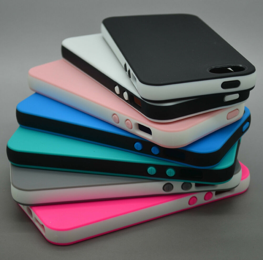 Squishy Gel Iphone Case : DUAL COLOR RUBBER SOFT SILICONE GEL BUMPER TPU CASE COVER FOR IPHONE 5 5S 5C 6S eBay
