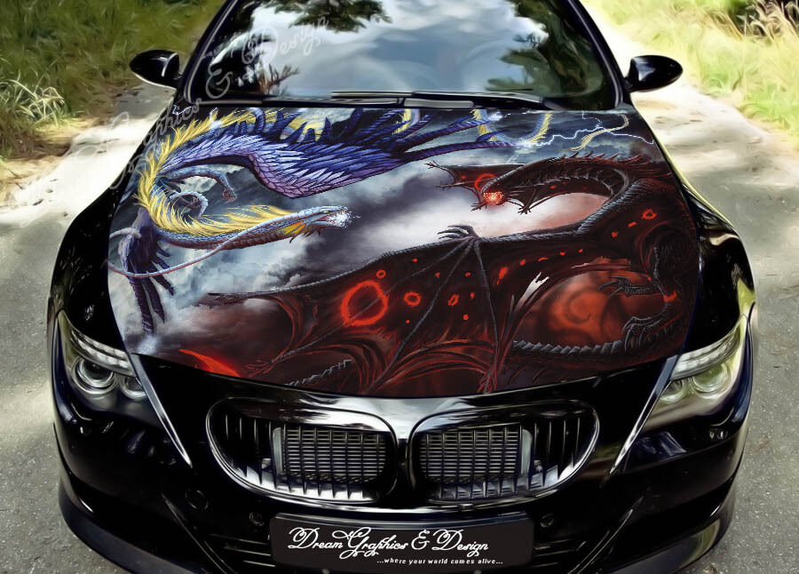 Car Wrap Vinyl >> Dragon Full Color Graphics Adhesive Vinyl Sticker Fit any Car Hood #164 | eBay