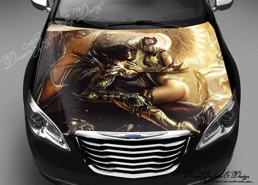 Demon Angel Hood Full Color Graphics Wrap Decal Vinyl
