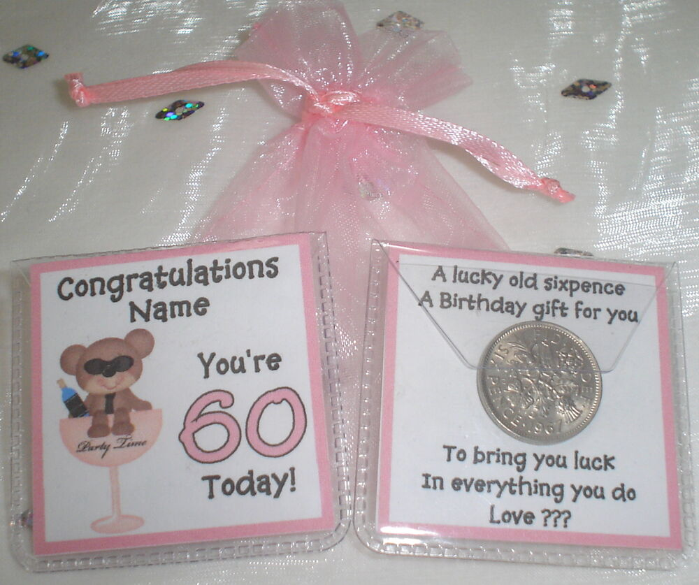 PERSONALISED LUCKY SIXPENCE WOMENS 50TH 60TH BIRTHDAY GIFT