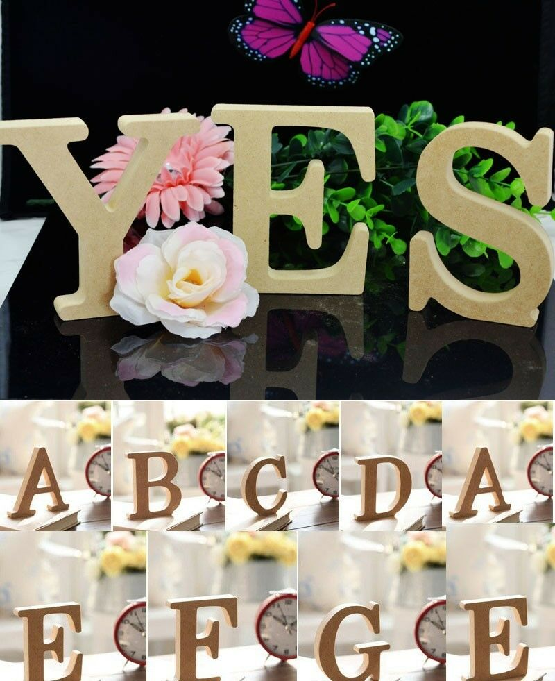 Wooden wood letters alphabet birthday for Decoration 5 letters