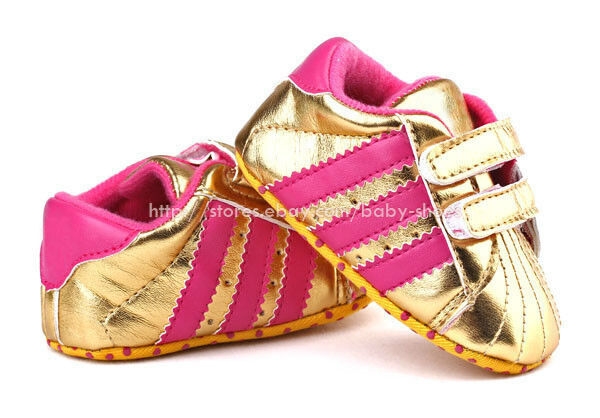 Baby Girl Gold Soft Sole Crib Shoes Sneakers Size Newborn ...