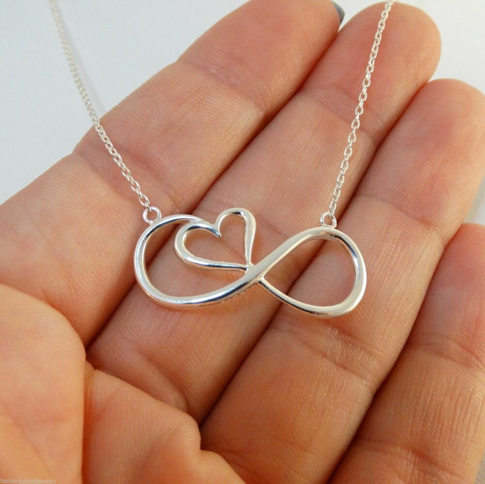 infinity necklace 925 sterling silver infinity sign. Black Bedroom Furniture Sets. Home Design Ideas