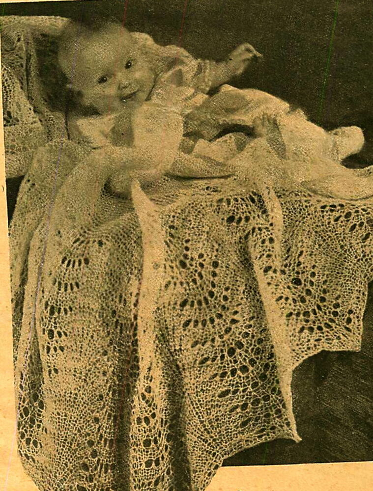 2 Ply Knitting Patterns : Vintage knitting pattern- sweet lace knit baby heirloom christening shawl 2 p...
