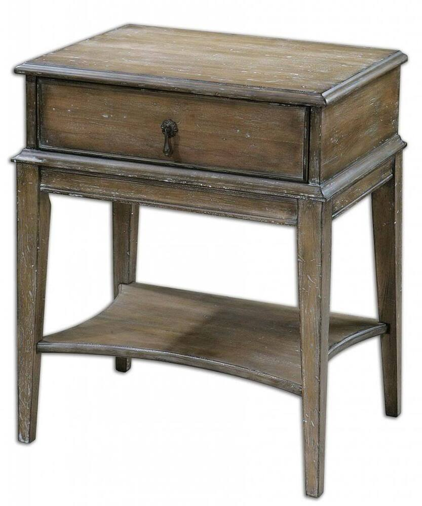 Cottage weathered pine accent table drawer rustic antique for End tables with drawers