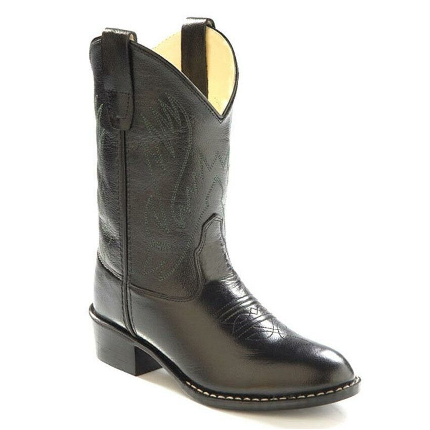 Old West Kids Boys Leather Western Cowboy Boots - Black ...