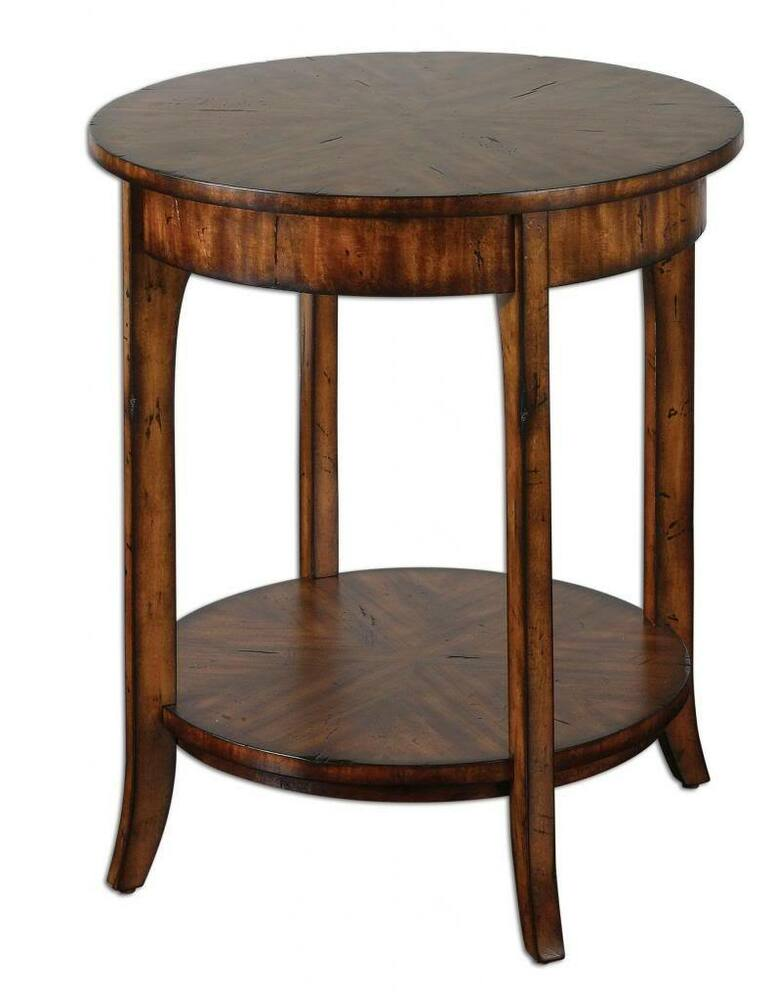 Round Wood Table ~ Elegant round wood accent table hall lamp rustic antique