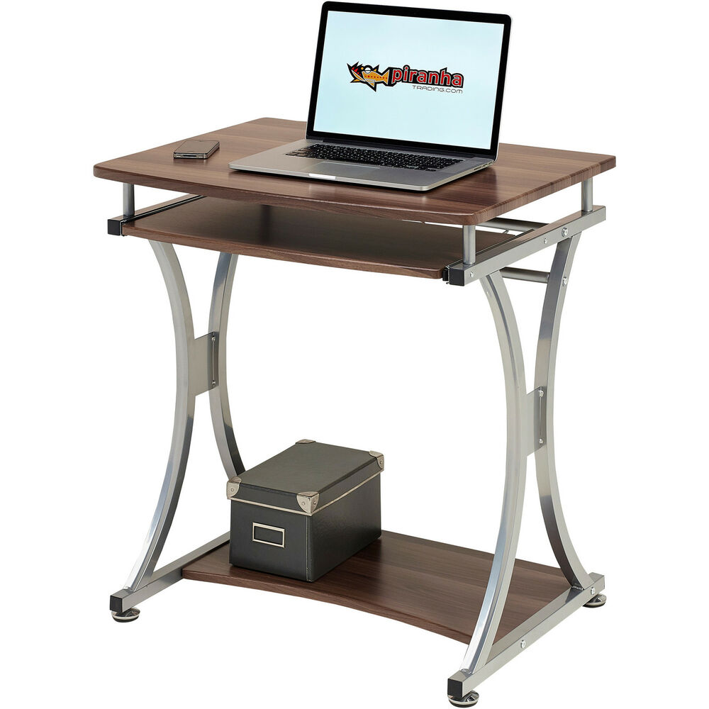 compact computer desk with keyboard shelf for home office piranha minnow pc11w ebay. Black Bedroom Furniture Sets. Home Design Ideas