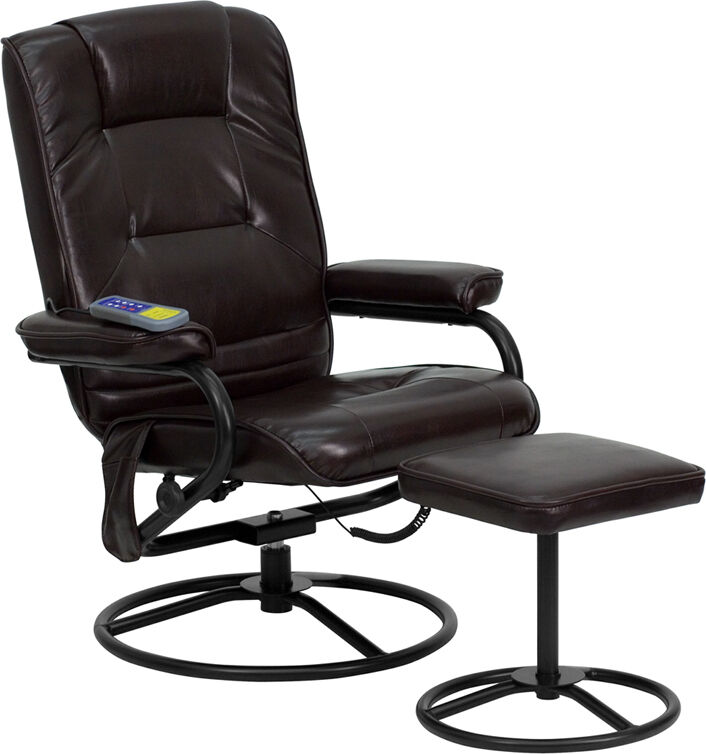 Dark Brown Leather Multi Function Massage Recliner With