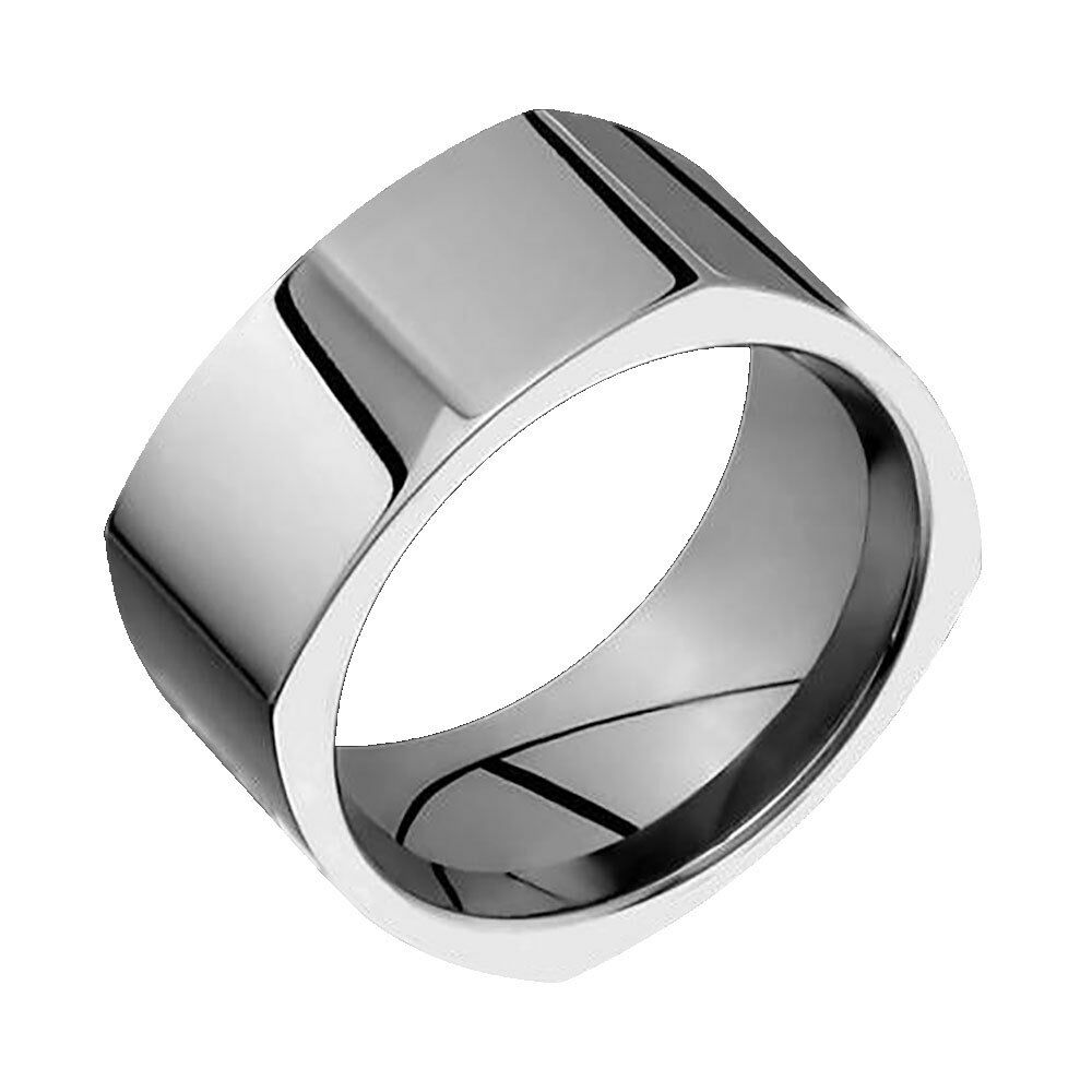 Square Titanium Wedding Ring Comfort Fit Polished 10mm Wide Band For Him N Her | EBay