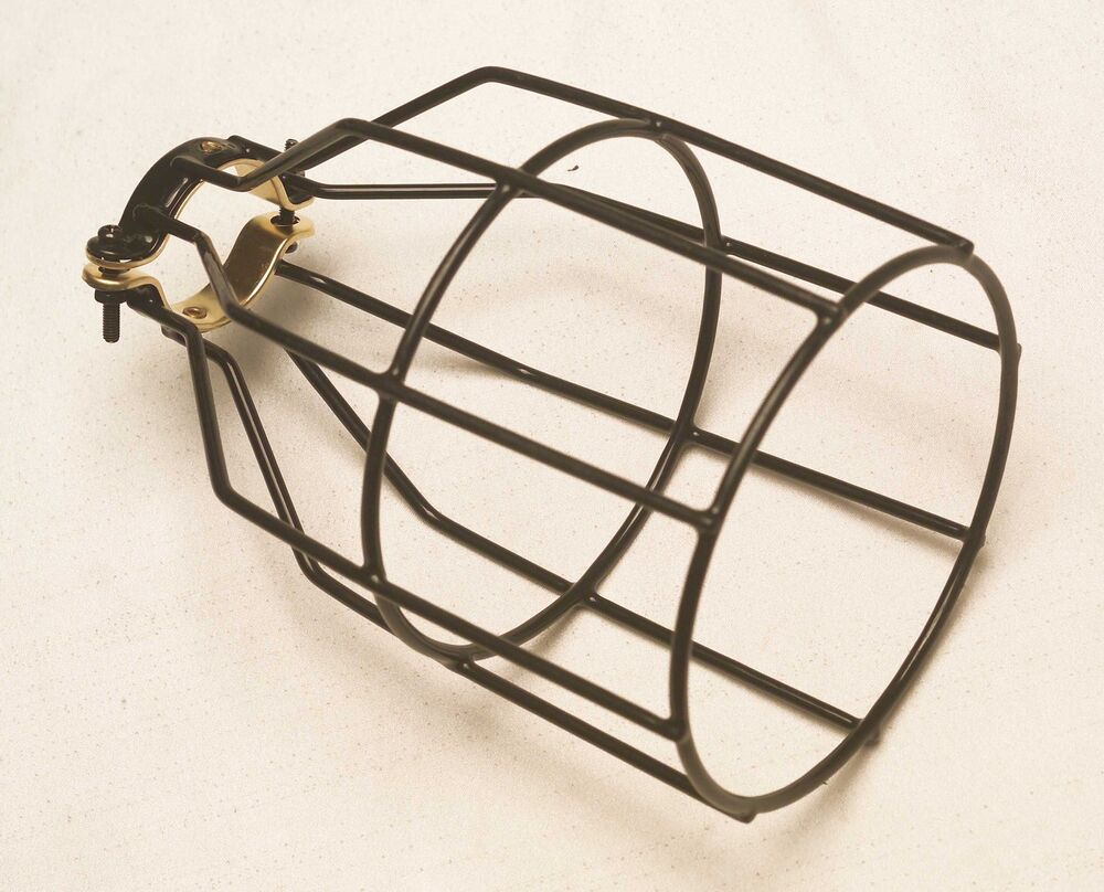 metal bulb guard lamp cage vintage temporary lighting squirrel cage clamp. Black Bedroom Furniture Sets. Home Design Ideas