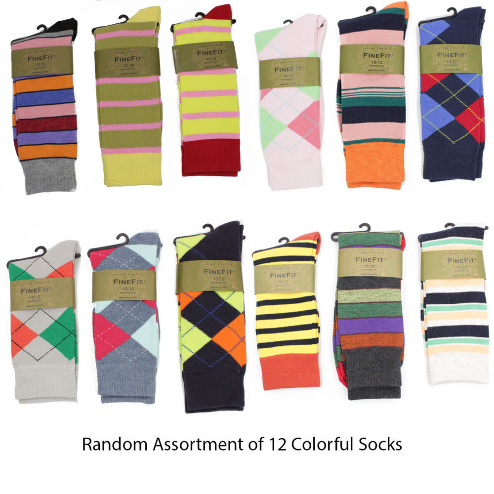 12 pairs mens colorful dress socks stripes argyle pattern