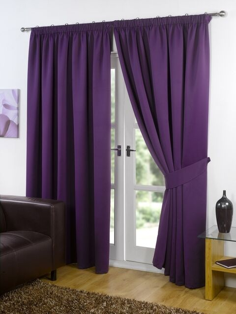Plum / Purple Supersoft BLACKOUT Thermal Curtains in PENCIL PLEAT ...