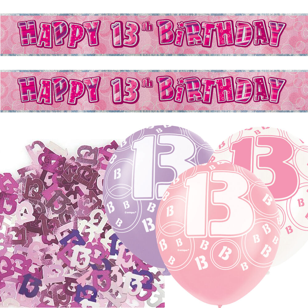 Pink silver girl glitz 13th birthday banner party for 13th birthday decoration ideas
