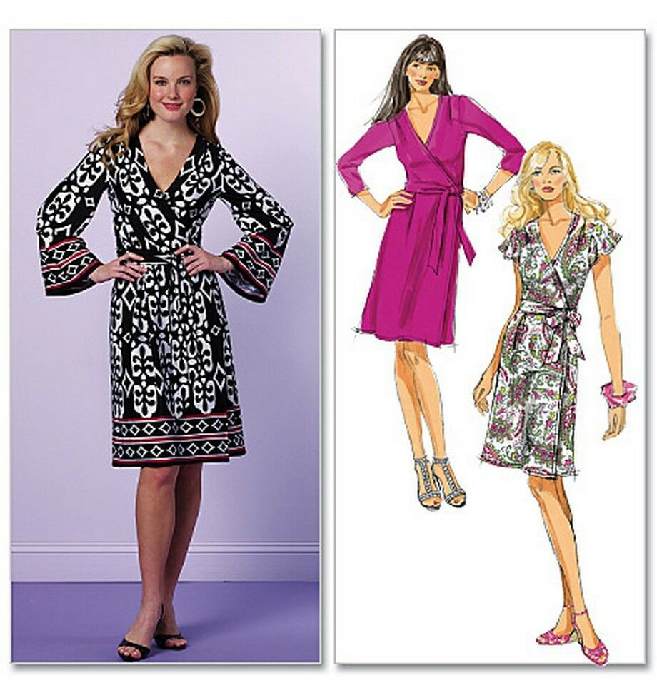 from uk sewing pattern sewing bee wrap dress 16 24 5454. Black Bedroom Furniture Sets. Home Design Ideas