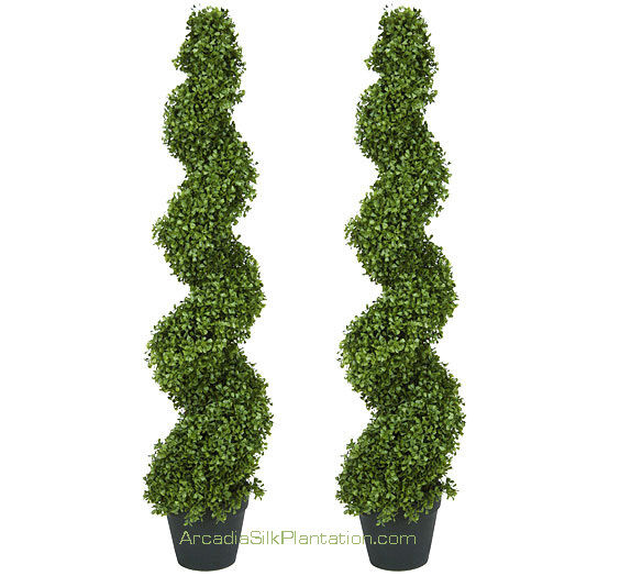 """Topiary Spiral Trees: 2 ARTIFICIAL 4' 2"""" BOXWOOD SPIRAL TOPIARY IN OUTDOOR TREE"""