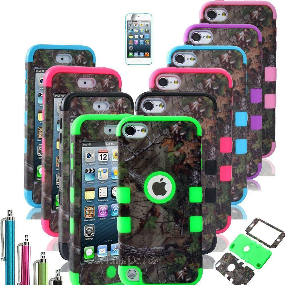 ipod touch 5th gen hard soft rubber high impact armor case camo hybrid cover ebay. Black Bedroom Furniture Sets. Home Design Ideas