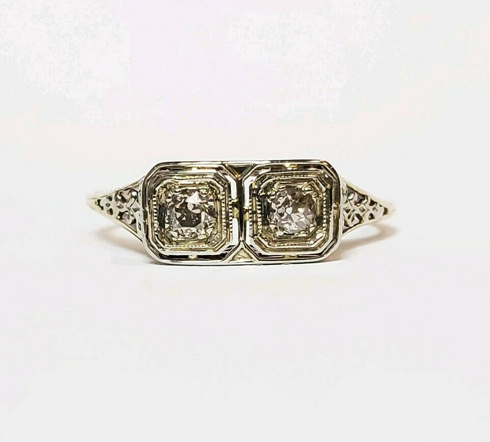 antique 20ct 14k white gold filigree ring womens