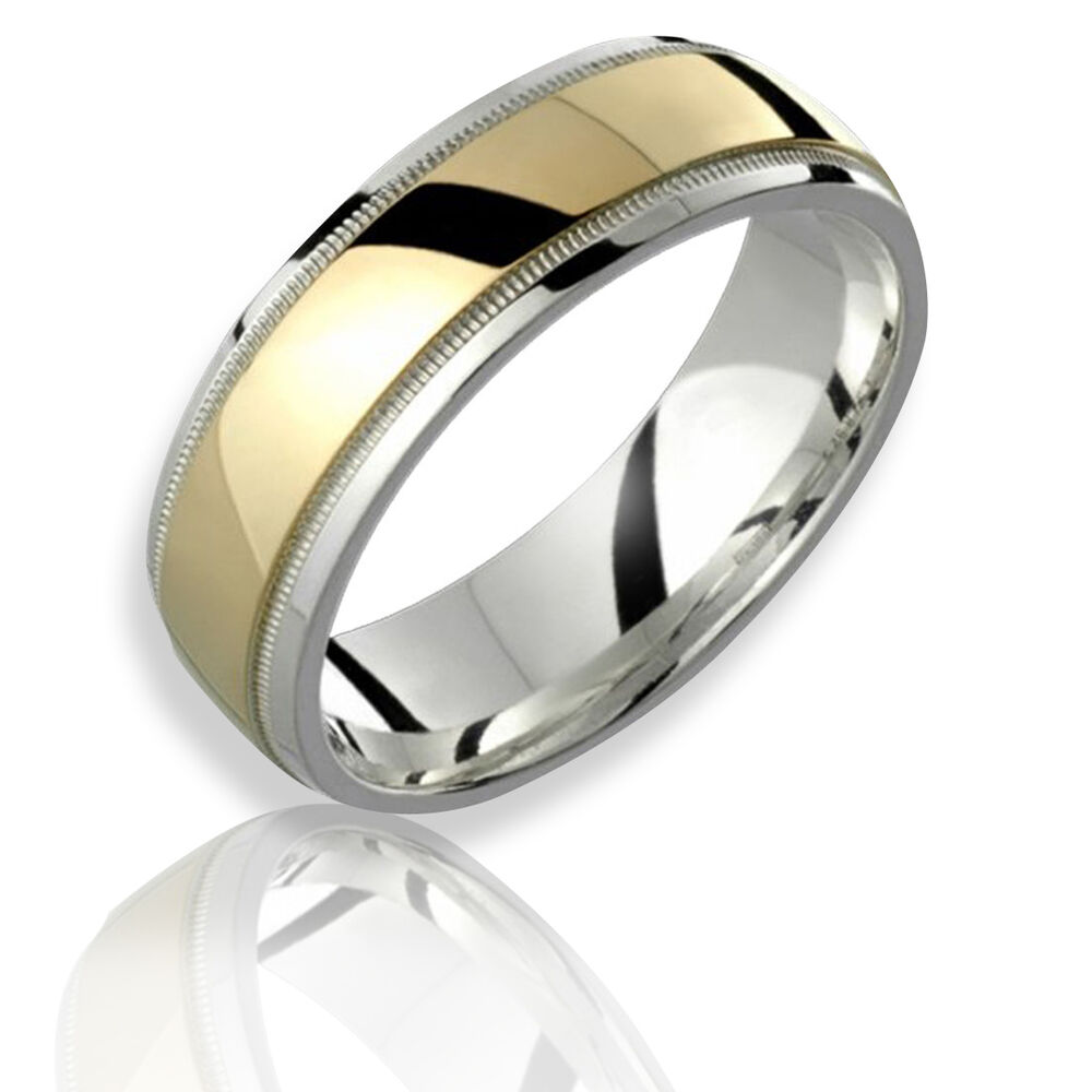 7mm 10k Yellow Gold 925 Sterling Silver Mens Women Ring
