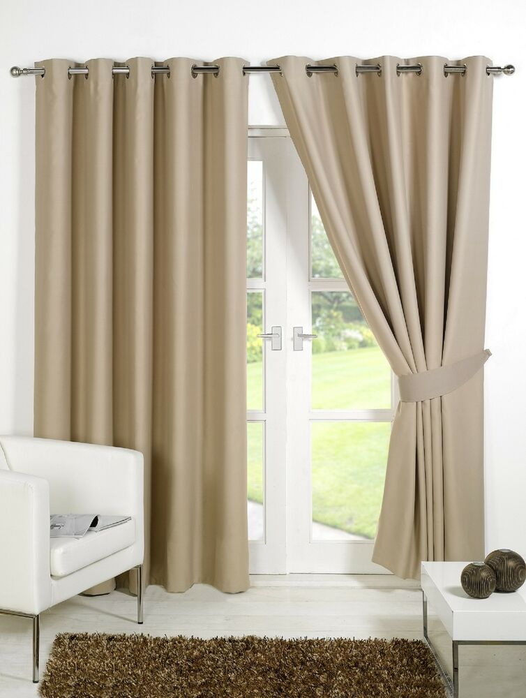 beige supersoft blackout thermal curtains in ring top. Black Bedroom Furniture Sets. Home Design Ideas