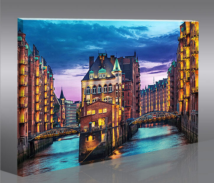 speicherstadt hamburg 1p bild auf leinwand bilder. Black Bedroom Furniture Sets. Home Design Ideas