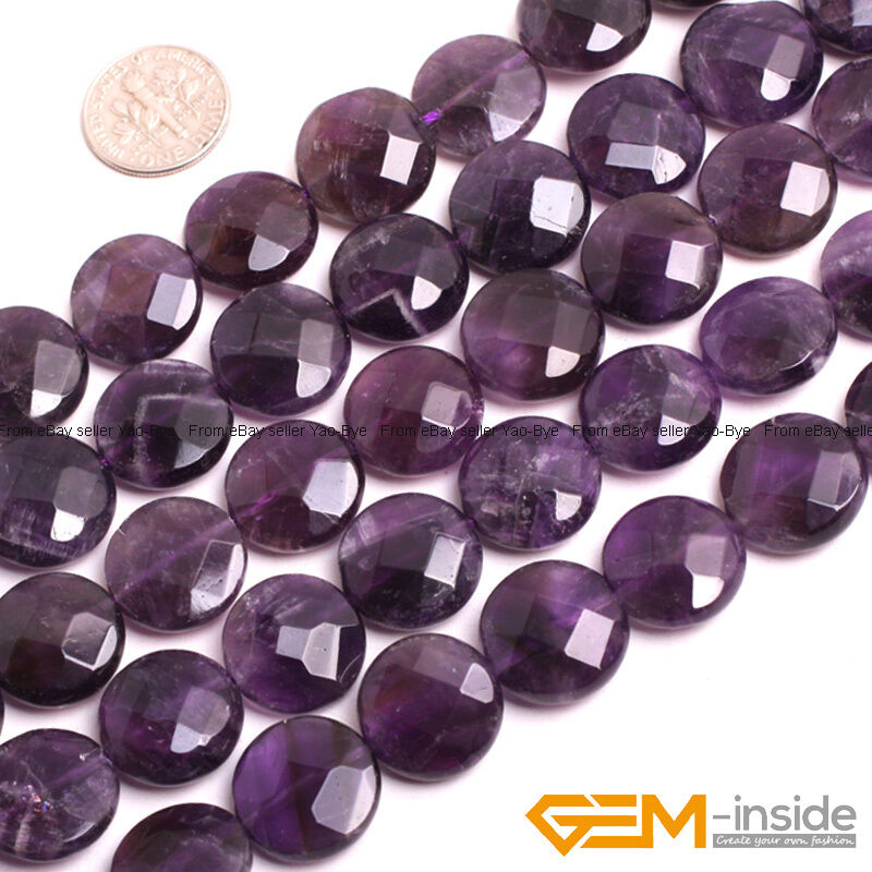 Natural purple amethyst gemstone faceted coin beads for for Birthstone beads for jewelry making