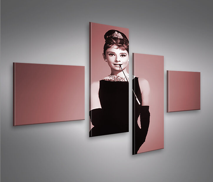 audrey hepburn 4 bilder auf leinwand 4lp bilder kunstdruck wandbild poster ebay. Black Bedroom Furniture Sets. Home Design Ideas