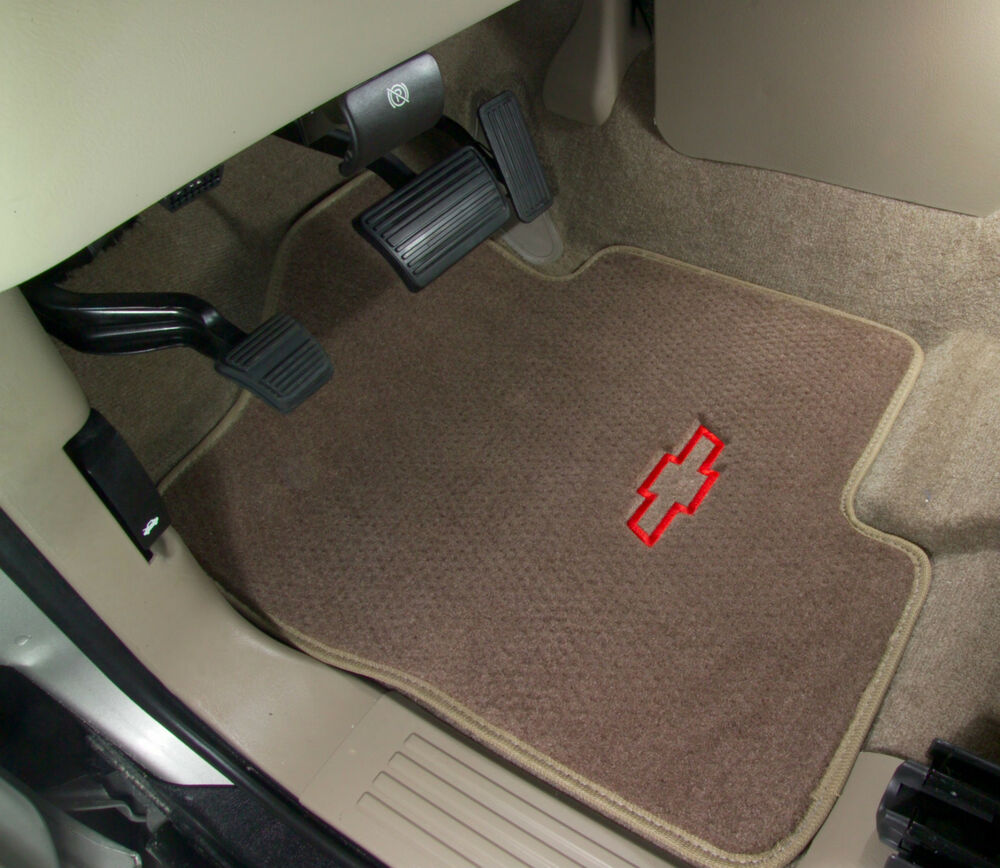 Chevy Bowtie Logo On Beige Custom Carpet Floor Mats Camaro