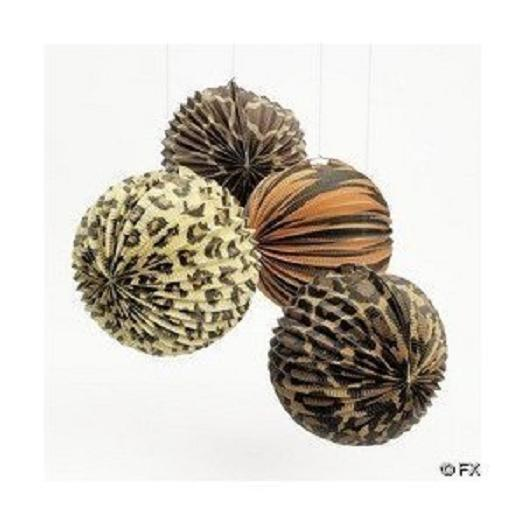12 zoo safari jungle animal print party decorations paper for Animal print decoration party