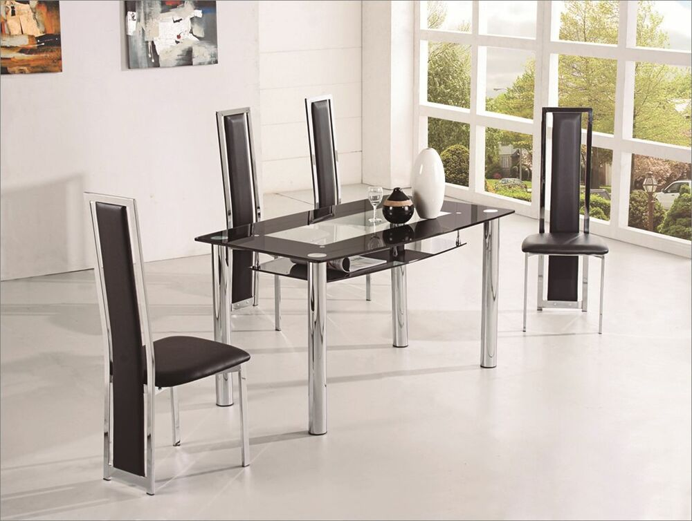 Rovigo small glass chrome dining room table only 4 for Ebay dining room tables