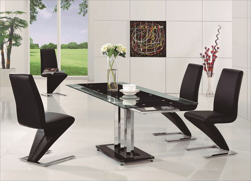 PAVIA EXTENDING GLASS CHROME DINING ROOM TABLE 4 Z CHAIRS SET FURNITURE