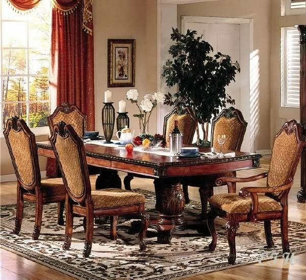 Cherry Dining Room Set: 7PC FORMAL CHATEAU RUSTIC CHERRY FINISH WOOD DINING TABLE